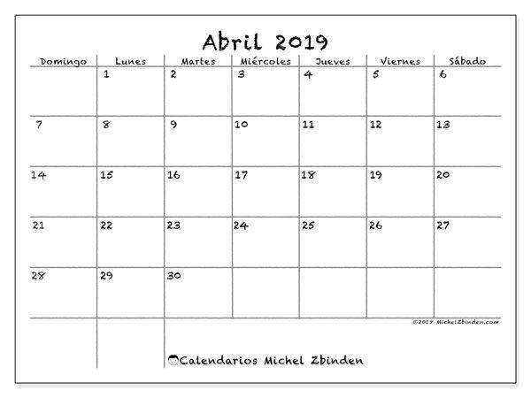 Calendario Abril 2019 77ds Calendario Enero Calendario