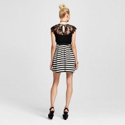 c2598ae863d93 Women's Striped Elastic Waist Skater Dress Ivory/Black S - Lots of ...