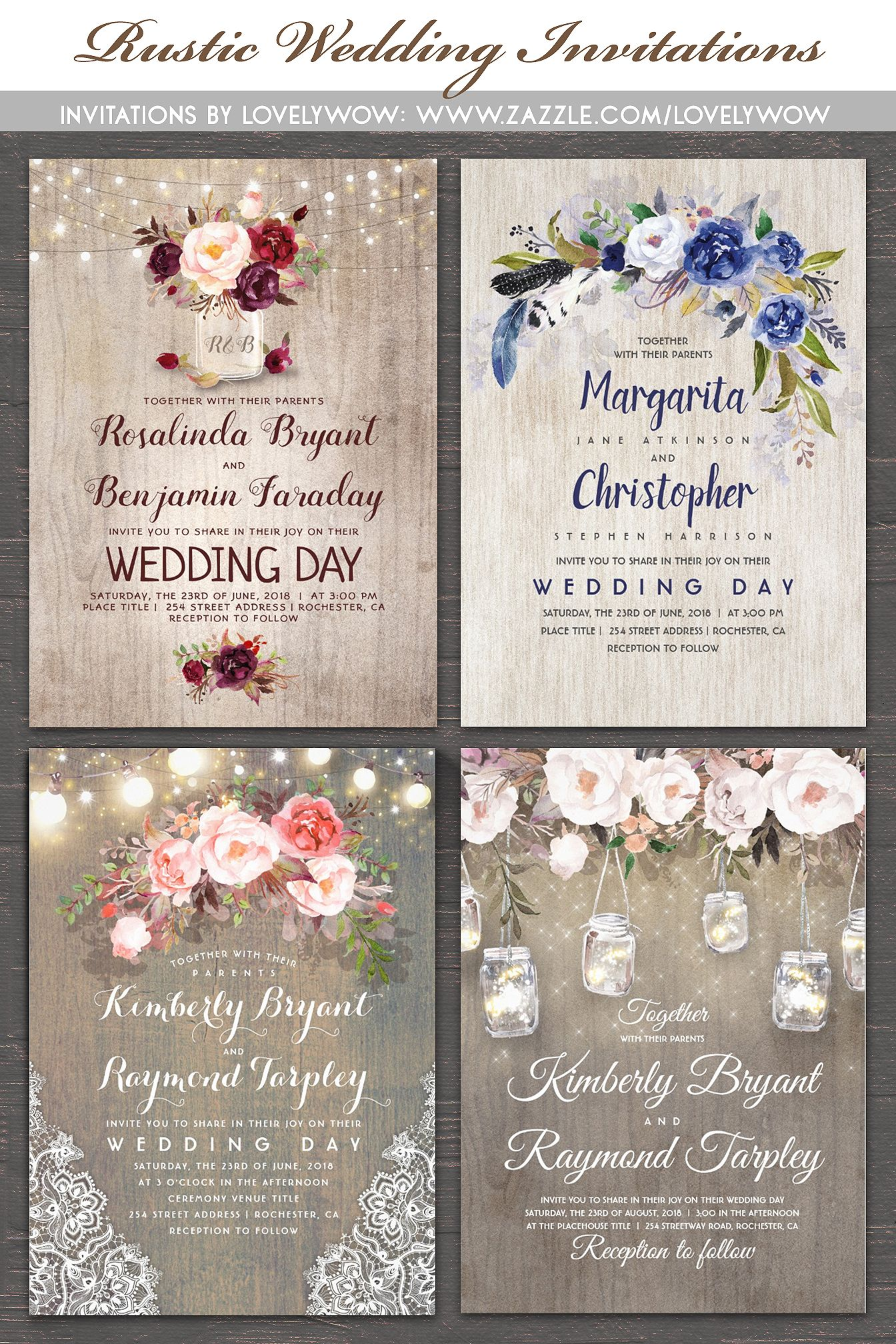 Rustic floral lace string lights and wood wedding invitation rustic wedding invitations 1httpszazzle stopboris Images