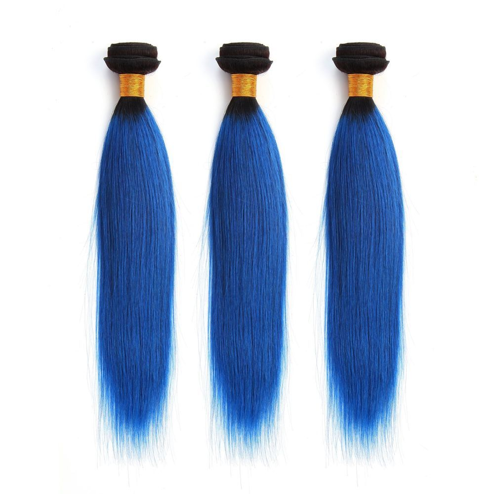 300g1bblue Silky Straight Real Human Hair Extension Full Head Ombre