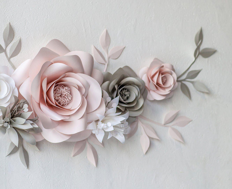 Paper Flower Wall Arrangement Nursery Wall Decor With Paper