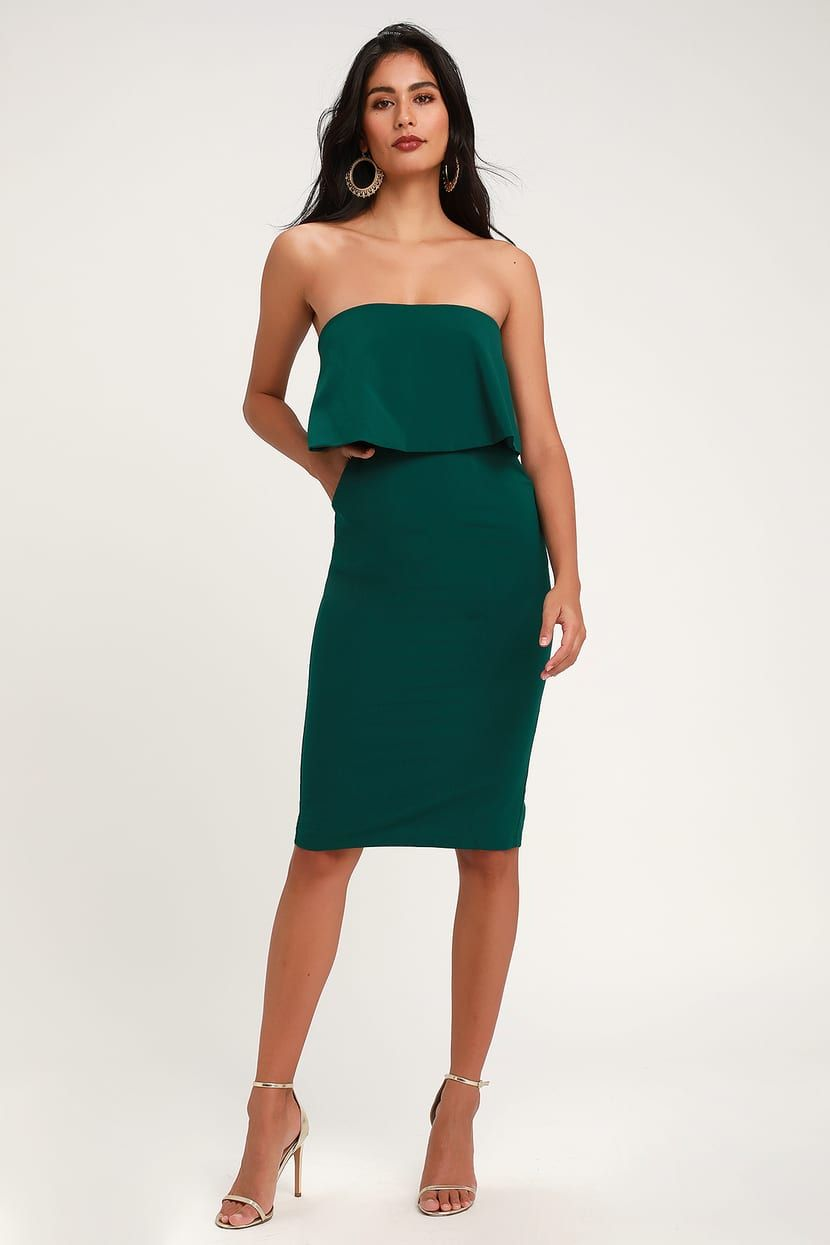 Lots Of Love Emerald Green Strapless Midi Dress Strapless Midi Dress Dresses Green Midi Dress [ 1245 x 830 Pixel ]