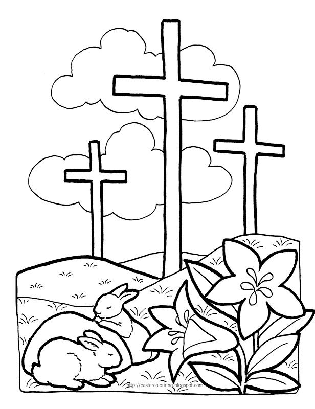 Religious Easter Colouring Pages Quotes Clipart Rhpinterest: Coloring Pages Of Easter Cross At Baymontmadison.com