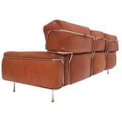Rare Three Seat Leather Sofa By Vittorio Introini For Saporiti