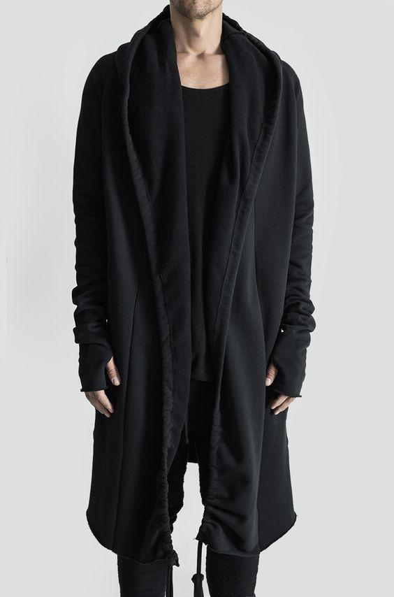 SELX Men Fashion Open Front Shawl Collar Longline Draped Cardigan