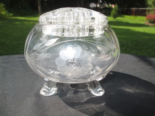 Hughes Cornflower Etch Tiffin Footed Rose Bowl Vase With Glass Frog Insert Glass Frog Glass Cornflower