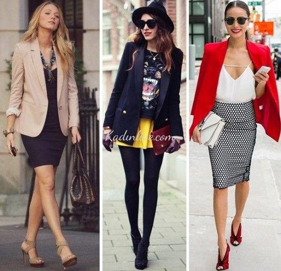 Blazer Ceket Ve Etek Kombinleri Sokak Modasi Moda Sitesi Blazer Ceket Moda Stilleri Moda