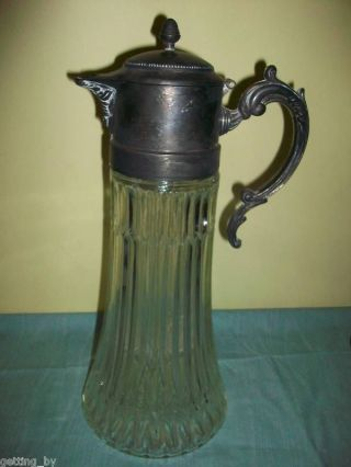 antique glass pitcher with silver lid - Google Search