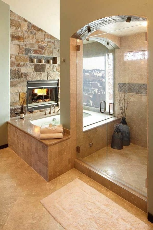 ideen für badzimmer gestaltung - feurerstelle mit einer gläsernen - ideen fürs badezimmer