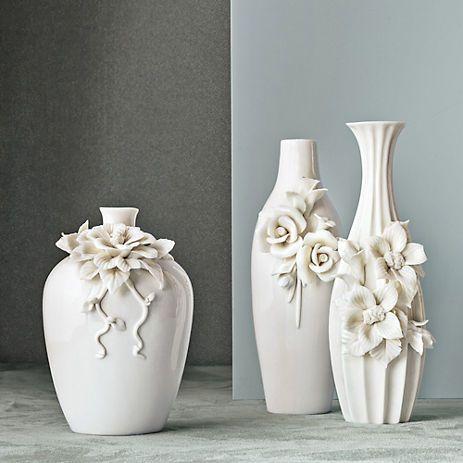 White Floral Vases Gump S Clay Vase Ceramic Flowers Vase Crafts