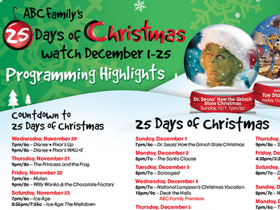 abc family 25 days of christmas movie schedule 2015 i usually dont regret not having abc family as part of our cable package we got the free package that - Abc 25 Days Of Christmas