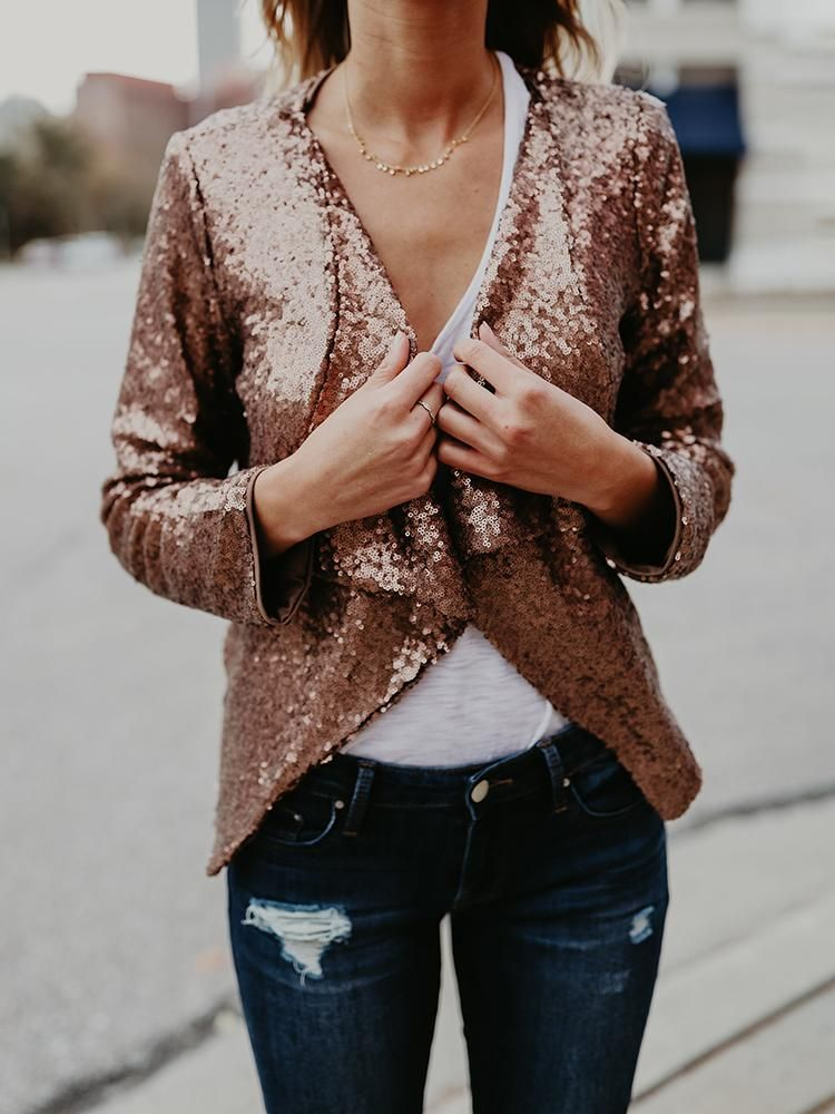 405fcdb74d658 Rose Gold Sequin Blazer