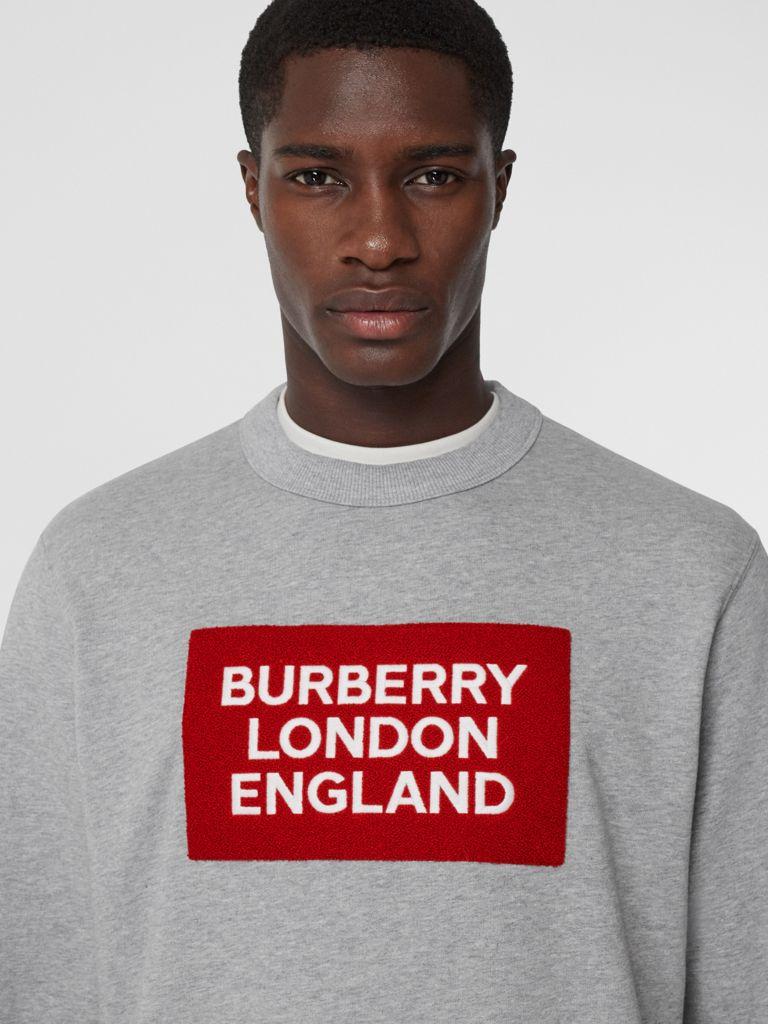 Logo Applique Cotton Sweatshirt In Pale Grey Melange Men Burberry Sweatshirts Cotton Sweatshirts Burberry T Shirt [ 1024 x 768 Pixel ]