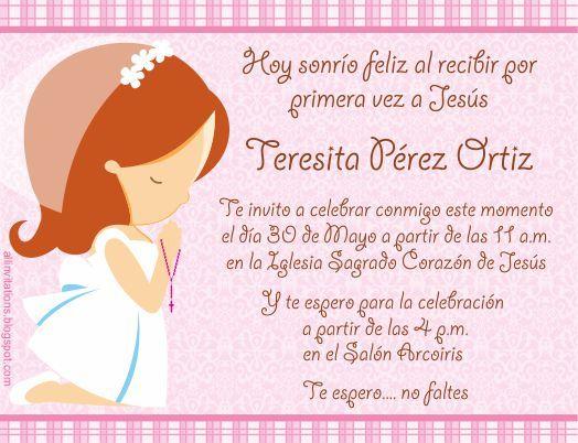Ejemplo De Invitación Primera Comunión Niña Invitacion