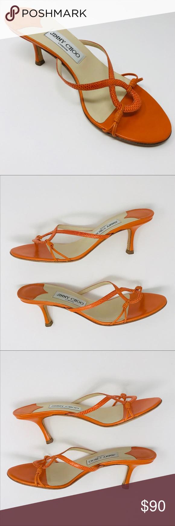 Jimmy Choo Kitten Heel Mule Sandal Tangerine 37 Heeled Mules Sandals Kitten Heels Kitten Heel Sandals