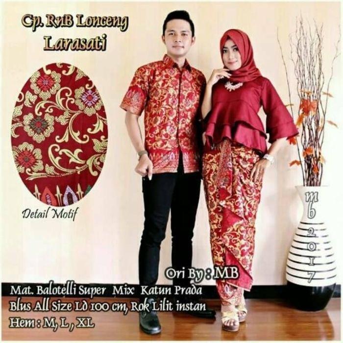 Setelan Model Batik Couple Sarimbit Motif Lonceng Larasati warna merah 4205390228