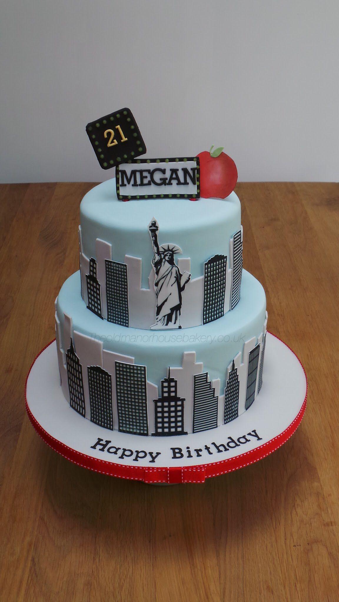 New York Skyline 21st Birthday Cake theoldmanorhousebakery