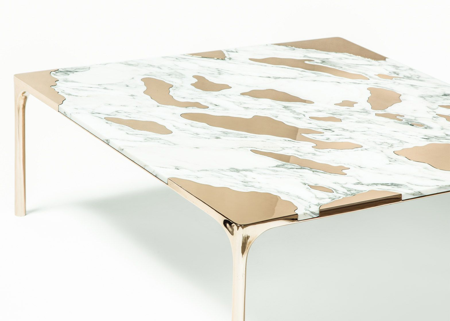 Marble Was Paired With Bronze To Create This Unusual Coffee Table