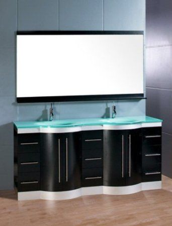 Design Element Jade Double Integrated Glass Dropin Sink And Captivating Design Element Bathroom Vanity Inspiration