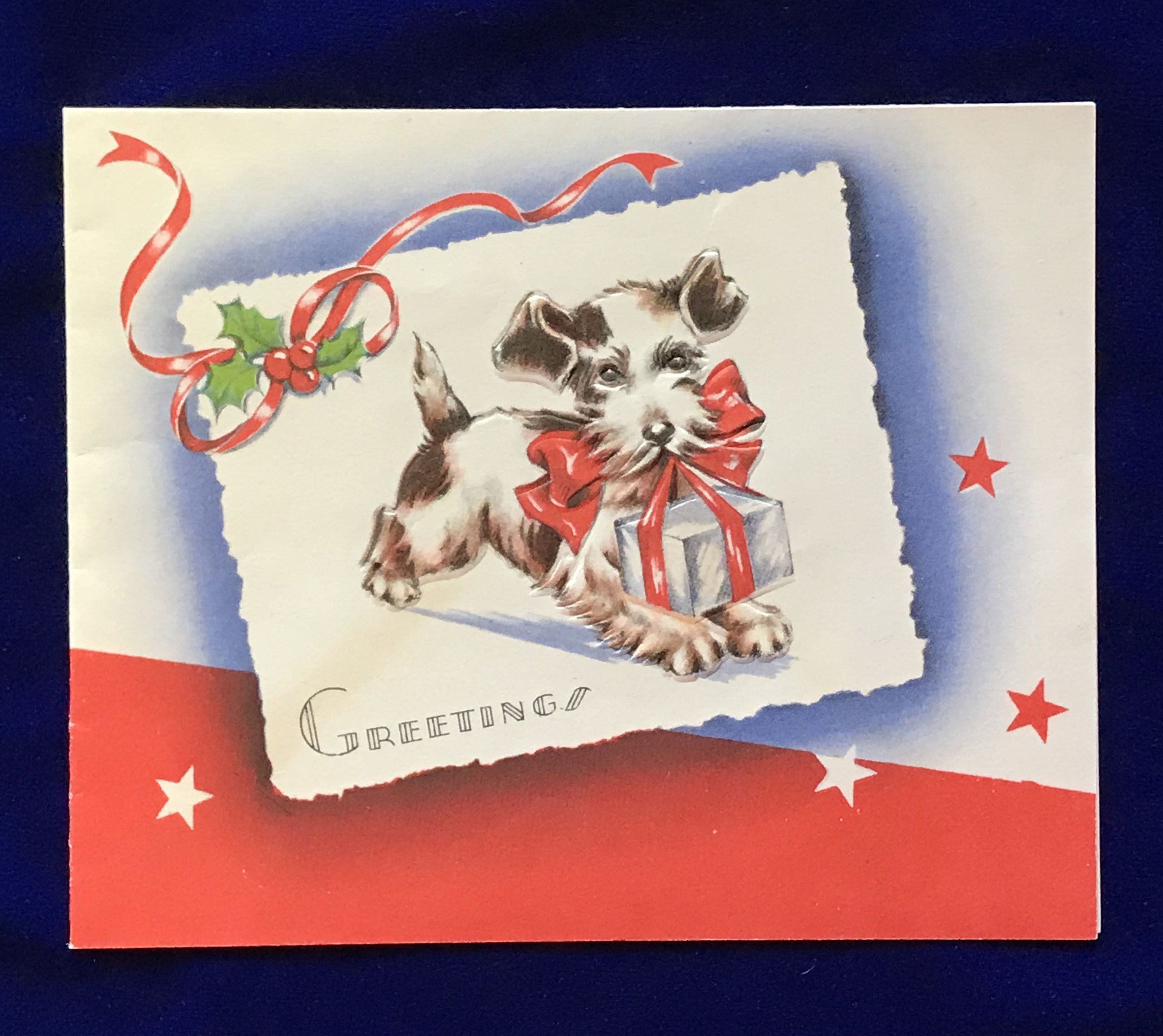1930s wire fox terrier dog gift christmas card for