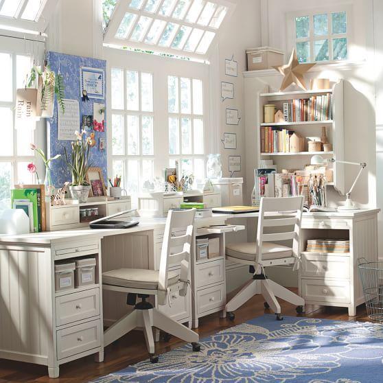 Beadboard Regular Corner Desk One Size Simply White