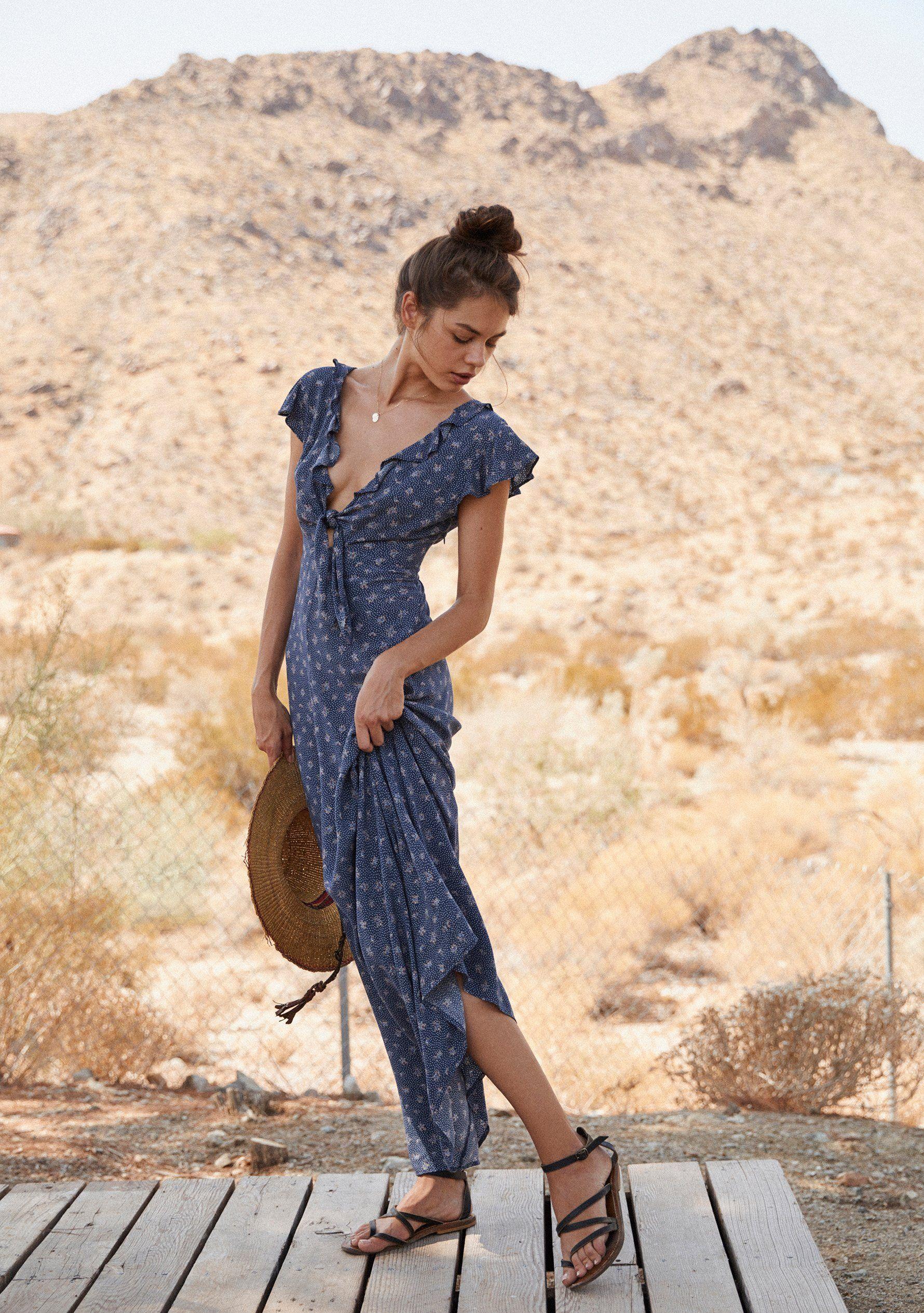8fa653d1b27 Jasmine Petal Cutaway Maxi Dress Navy - Auguste The Label