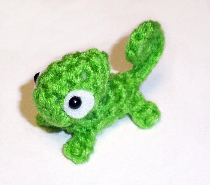 Mini Green Chameleon Plushie - 2.5 inch Small Crochet Animal Stuffed ...