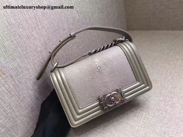 81408f11600392 Authentic Quality Perfect 1:1 Mirror Replica Chanel Silver Galuchat ...