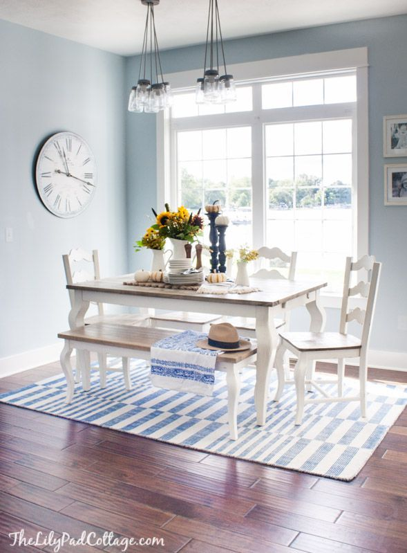 Pretty Blue Dining Room With A White Table And Dark Wood Top And Bench.  {House Tour   The Lilypad Cottage}
