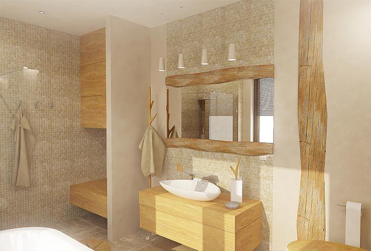 3D vizualizácia kúpeľne v nádhernom spracovaní prírodných materiálov, konkrétne travertínu (dlažba, mozaikové obklady) a masívneho dreva v bledých farbách...