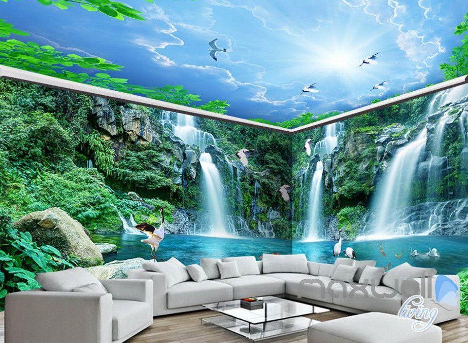 3D Long Waterfall Mountain Blue Sky Mountain Entire Room Wallpaper Wall Mural Art Decor IDCQW-000218