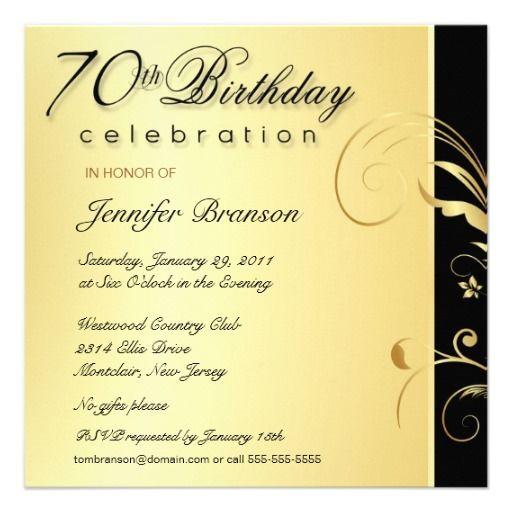 70th Birthday Party - Elegant Gold Floral Invites--wording