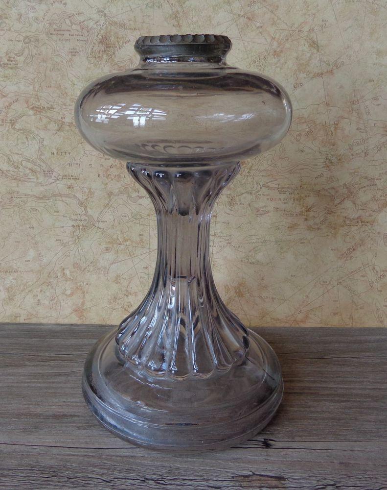 antique vintage heavy ribbed clear glass oil kerosene lamp base amethyst purple glass oil. Black Bedroom Furniture Sets. Home Design Ideas