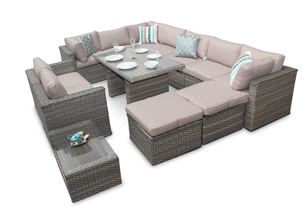 Manchester Grand Rattan Corner Sofa Dining Set