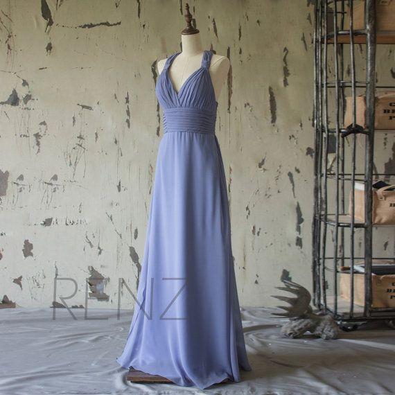 2016 Steel Blue Bridesmaid dress Chiffon, Halter Strape Wedding dress, Long Maxi dress, V neck Formal dress, Party dress floor length (F079)