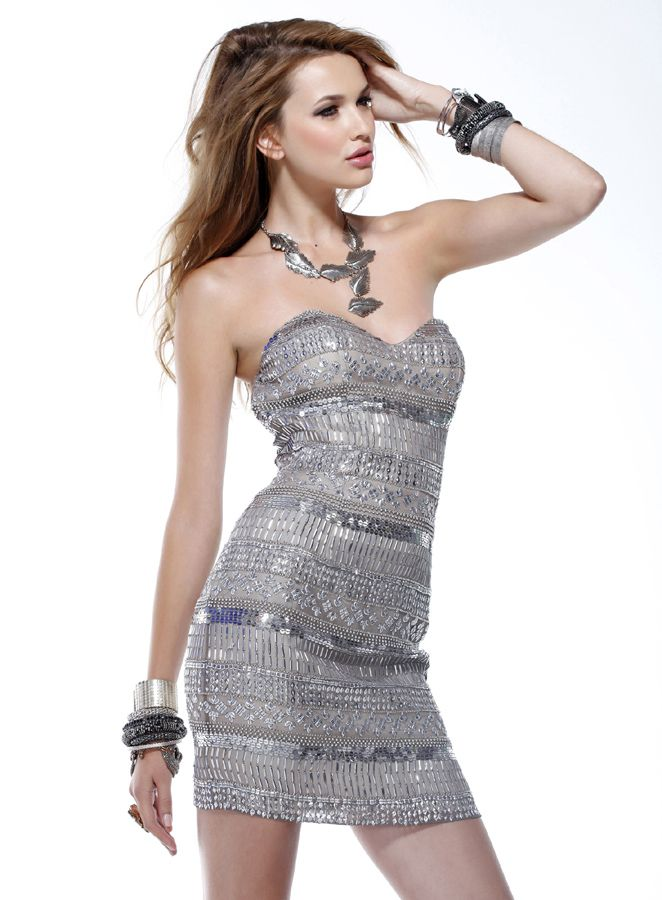 e3412d06 Silver Strapless Sweetheart Sheath Mini Length Prom Dress With Sequins -  Vuhera.com