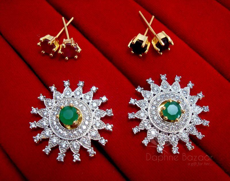 512857607 CE18, Daphne Rich SixInOne Changeable Zircon Earrings for Women ...