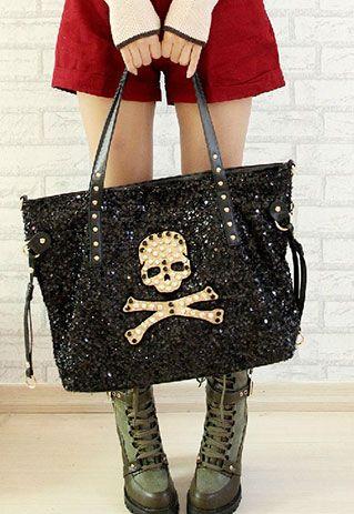 $29.99[grzxy62000108]Punk Style Paillette Skull Bone Pattern Handbag | cheershop - Bags & Purses on ArtFire