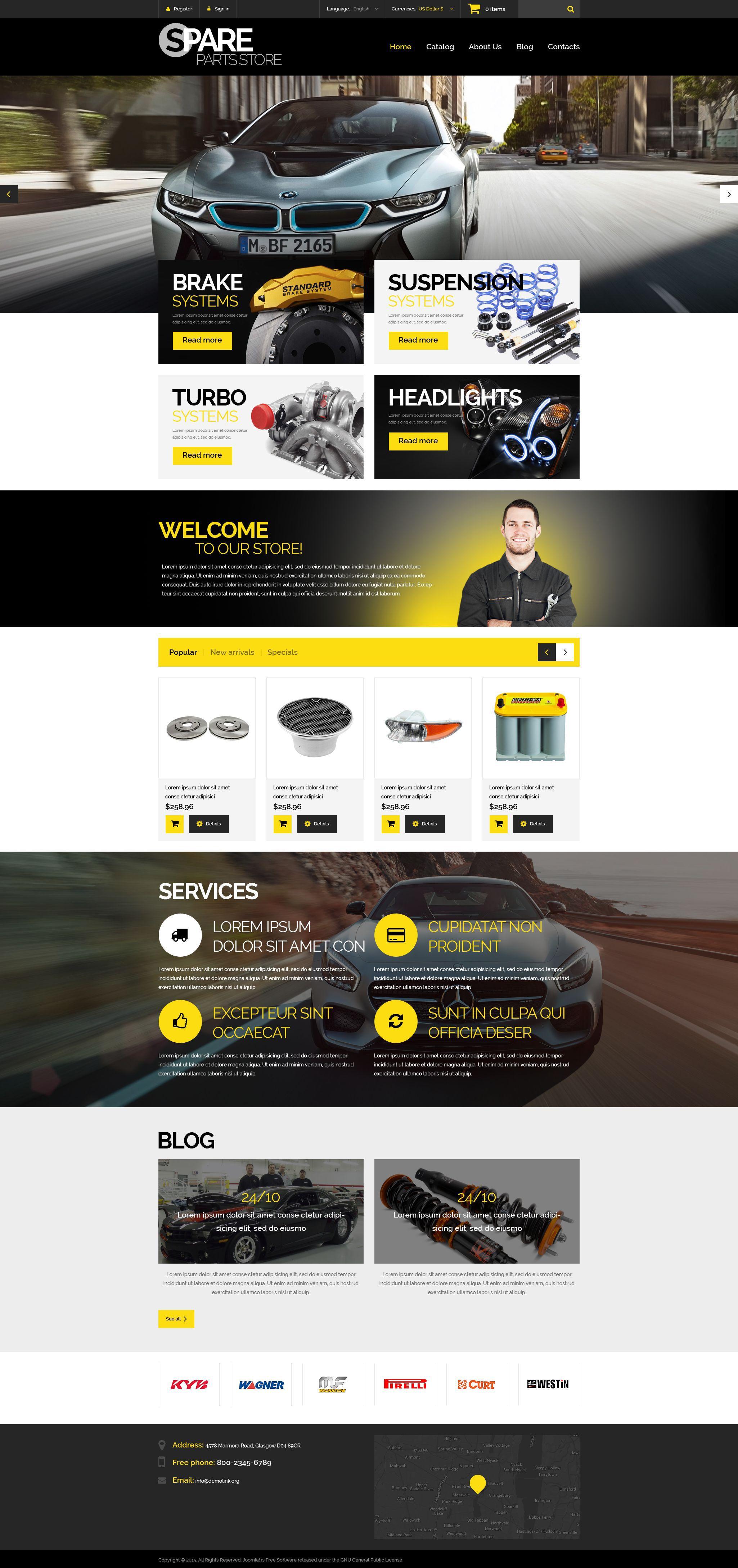 Spare Parts Store Theme Web design, Design