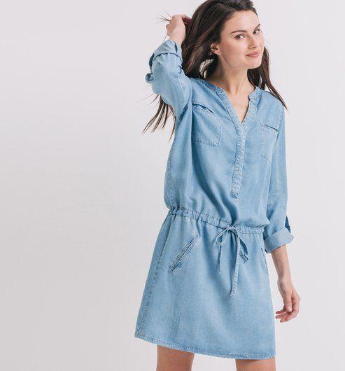 641e5c955c6e1 Robe en denim fluide Femme jean clair - Promod   I want it ...