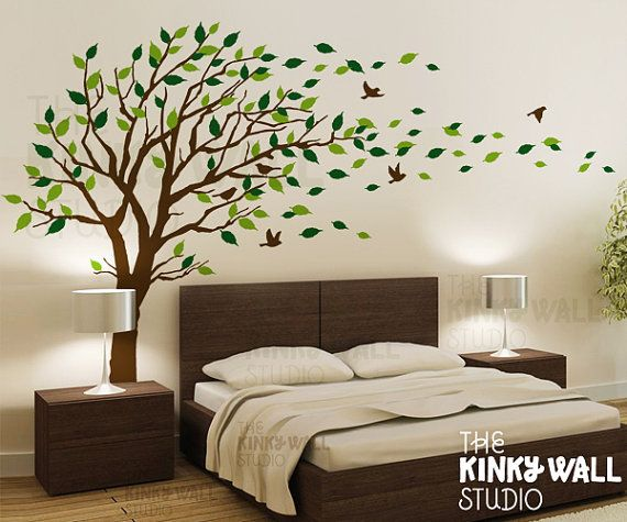 Wall Design Decals large green palm branch wall decals featuring two major design patterns one with thicker vinyl Blowing Tree Wall Decal Bedroom Wall Decals Wall Sticker Vinyl Art Wall Design Kk128