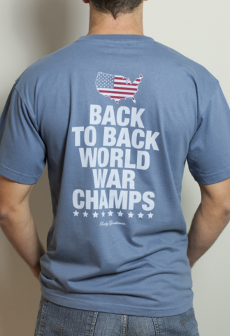 Back to Back World War Champs Pocket Tee Shirt - America Silhouette Edition - Weathered Blue