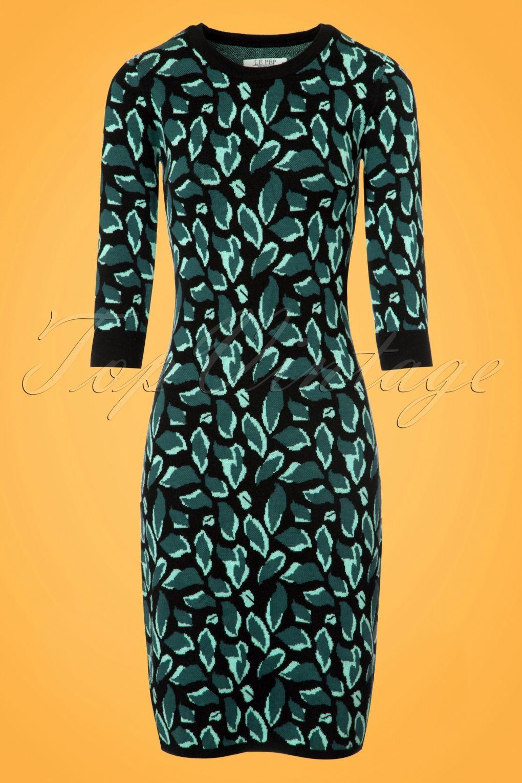 60s green dress  s Daphne Green Leaf Pencil Dress in Black  Pinterest  Black