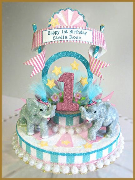 Vintage Carnival Pink Aqua Birthday Cake Topper This site has so