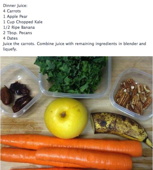 Juicing/Smoothies: Apple Pear, Carrot, Kale, Banana, Pecan & Dates