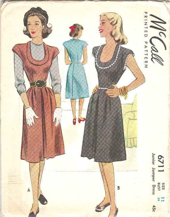 e23eb7a348 1940s Vintage McCall Printed Pattern Junior Jumper Dress Sewing Pattern  McCall 6711