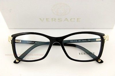 04f310bb477 Brand New VERSACE Eyeglasses Frames 3156 GB1 BLACK for Women 100% Authentic