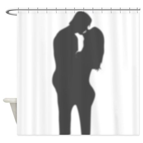 Romantic Couple Silhouette Shower Curtain By Inspirationz Store