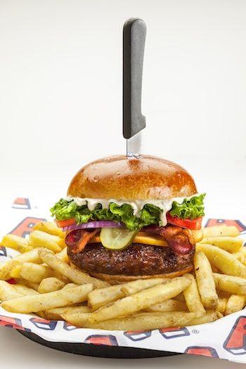 Arooga's Gouda Bacon Grind burger