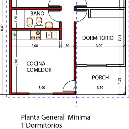 Planos vivienda 1 dormitorio ba o y cocina comedor for Planos de cocina y bano